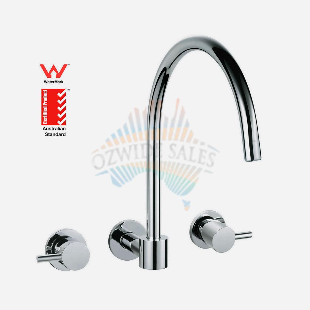 Wall Mounted Spa Sink Bath Tap Set 1/4 Turn Brass Chrome Wels ...