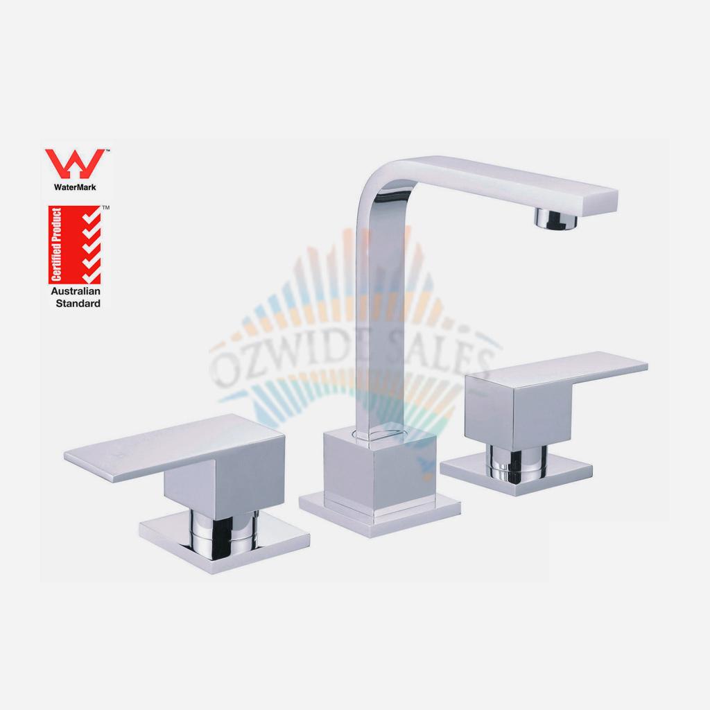 Basin Tap Set Square New 1/4 Turn Solid Brass Chrome Wels Bathroom ...
