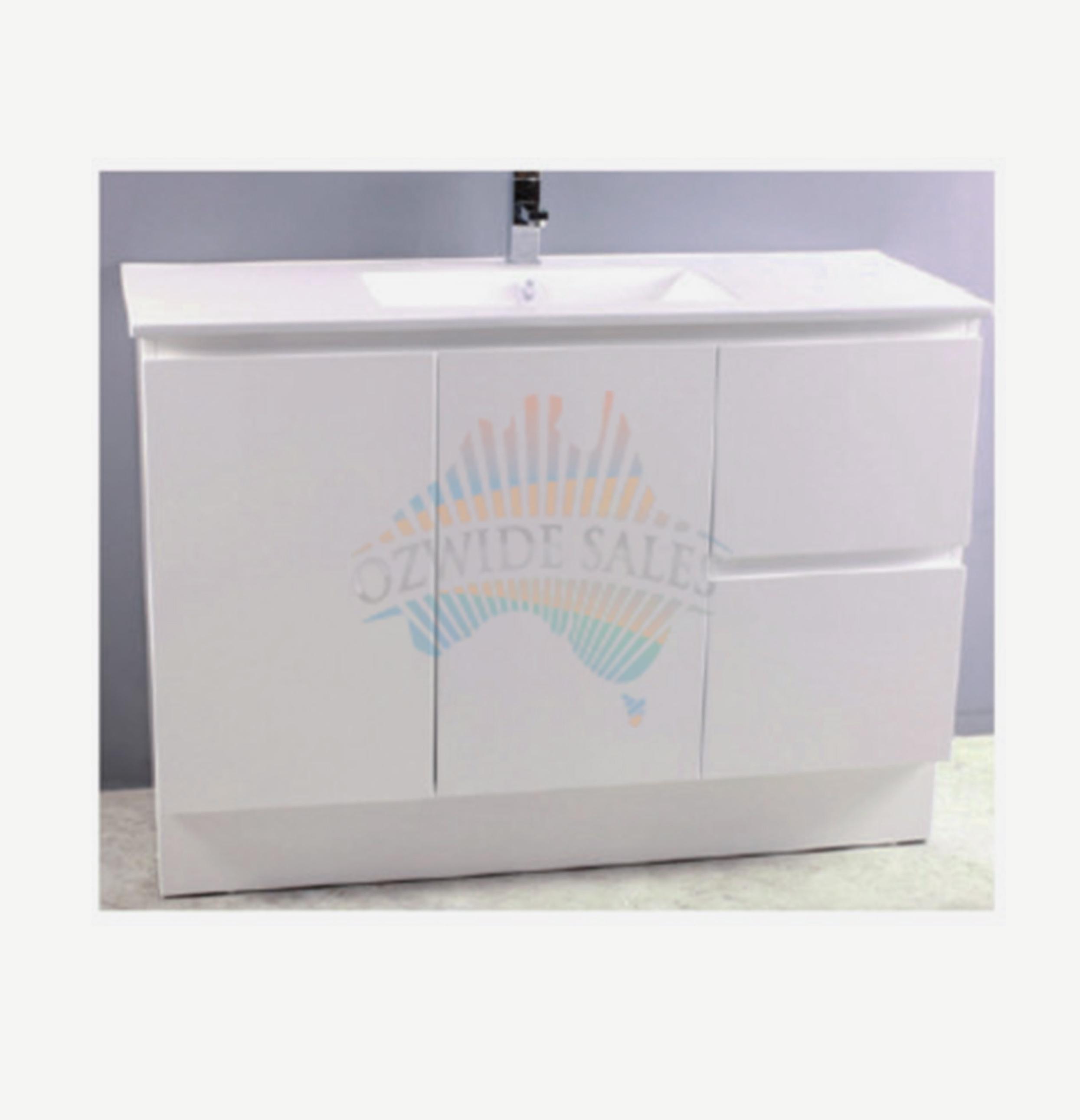 Bathroom vanity 1200 - Bathroom Vanity 1200 Mm White Gloss Slim Top Basin Soft Closing Drawers Doors Ozwide Sales Pty Ltd