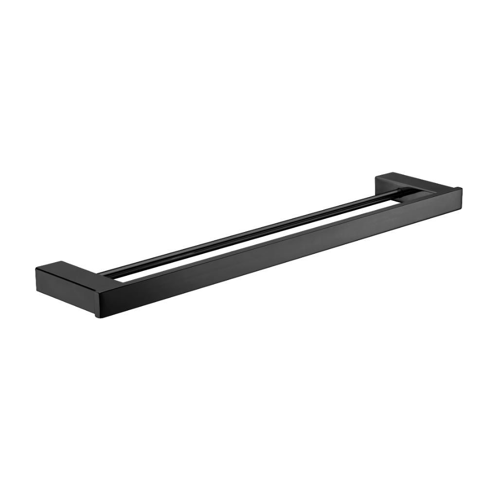 Square Black Bathroom Double Towel Rail Accessories 750 mm Black ...