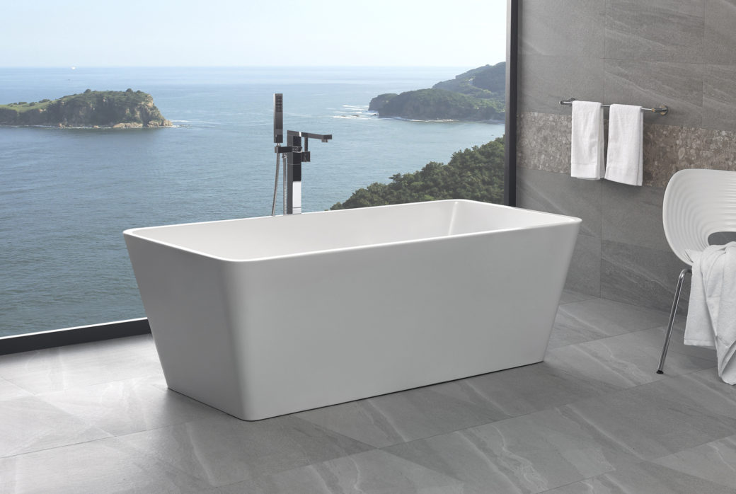 freestanding bathroom bath tub square thin edge 1500 free standing
