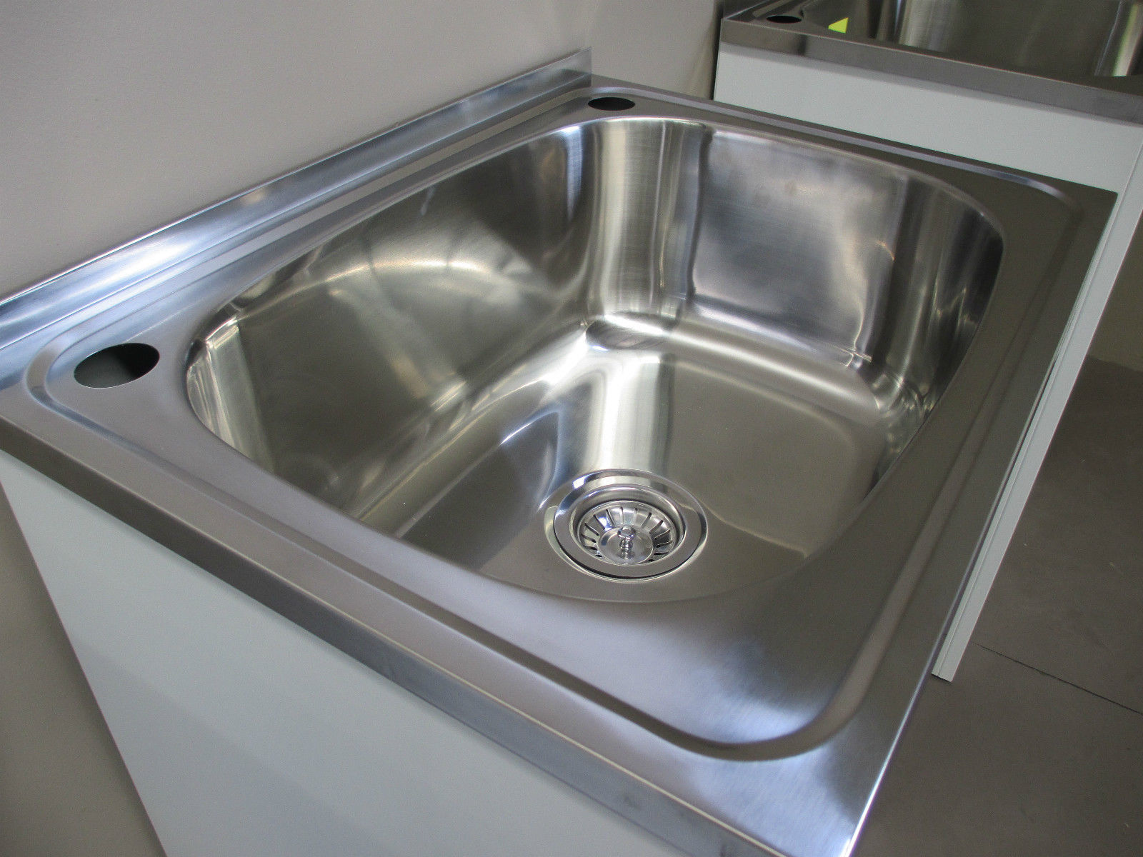 Laundry Tub 45L Stainless Steel Sink Cabinet Trough Adjustable Waste Bypass  Kit