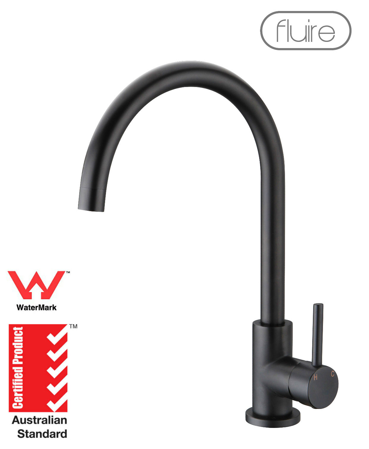 Black Kitchen Laundry Basin Sink Mixer Tap Faucet Swivel Tall Round ...